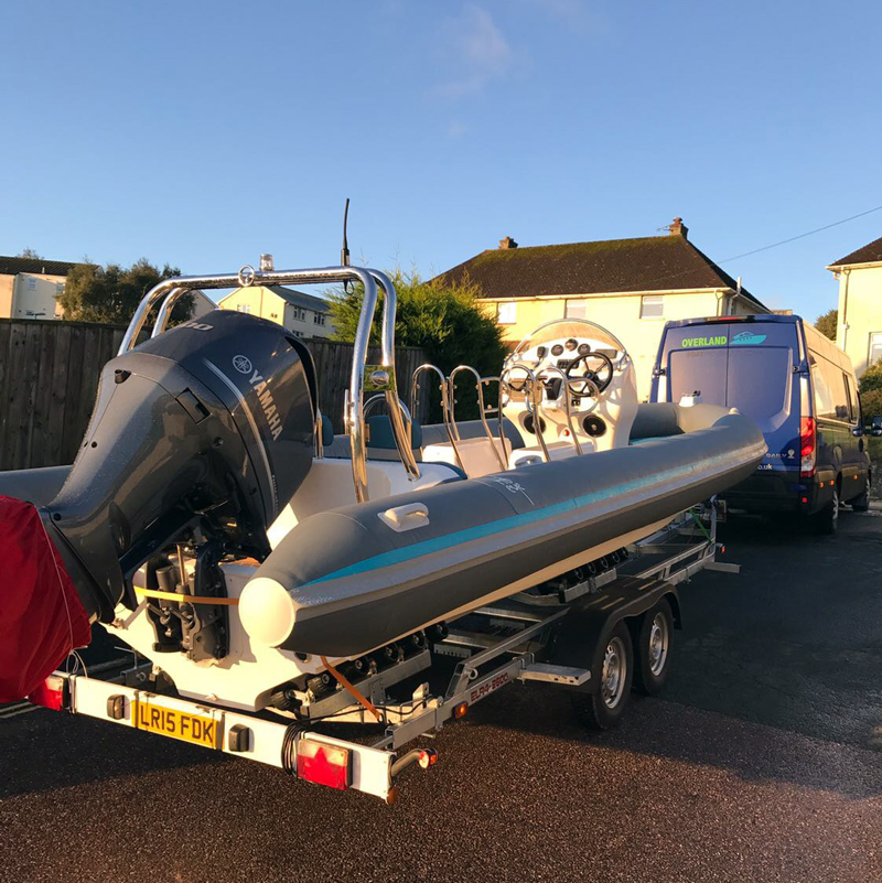 RIB on trailer boat transport